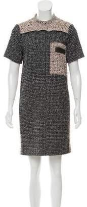 Proenza Schouler Leather-Trimmed Bouclé Dress