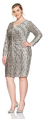 London Times Women's Plus Size Long Sleeve V Neck Sheath Dress