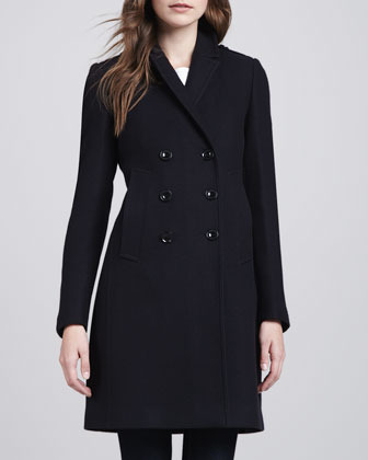 Burberry Button-Vent Double-Breasted Coat, Navy