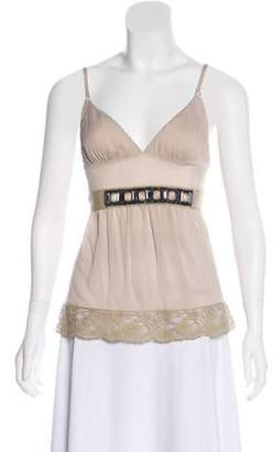 Dolce & Gabbana Embellished Sleeveless Top Beige Embellished Sleeveless Top