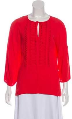 Diane von Furstenberg Embroidered Long Sleeve Blouse