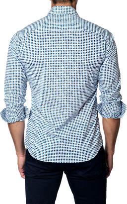 Jared Lang Men's Micro Square-Print Long-Sleeve Button-Down Shirt