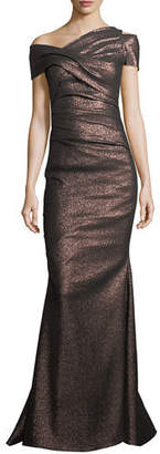 Talbot Runhof Moa Metallic One-Shoulder Ruched Gown