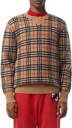Burberry Men's Banbury Check Cashmere Sweater