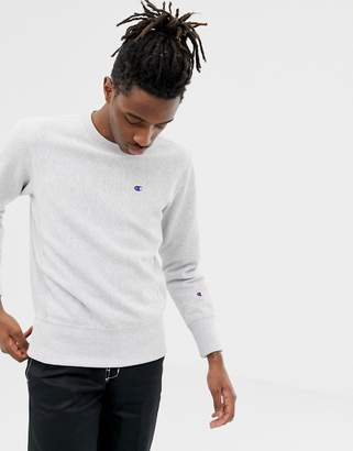 Champion reverse weave sweatshirt with small logo in gray