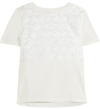 See by Chloé - Appliquéd Cotton-voile And Jersey T-shirt - White $170 thestylecure.com