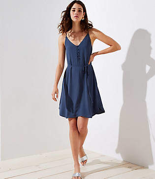 LOFT Petite Covered Button Strappy Cami Dress