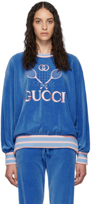 Gucci Blue Chenille Tennis Logo Sweatshirt