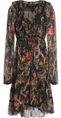 Needle & Thread Floral-print Ruffled Crepon Blouse Midi Dress