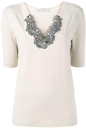D-Exterior D.Exterior lace-collar T-shirt