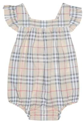 11482212da8 Burberry Baby Check cotton playsuit