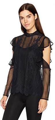 BCBGMAXAZRIA Women's Sabian Knit Sleeve Detail Top