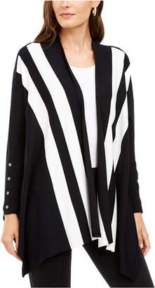 Alfani Striped Open-Front Poncho Cardigan