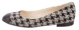 Chanel CC Houndstooth Cap-Toe Flats