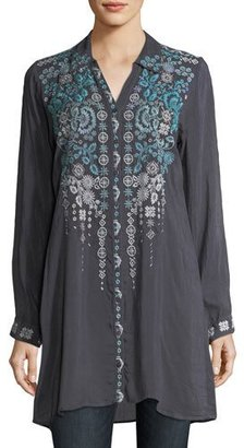 Johnny Was Skye Long-Sleeve Embroidered Georgette Tunic, Plus Size $265 thestylecure.com