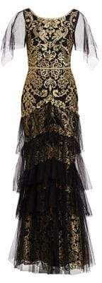 Marchesa Embroidered Tiered Flutter-Sleeve Gown