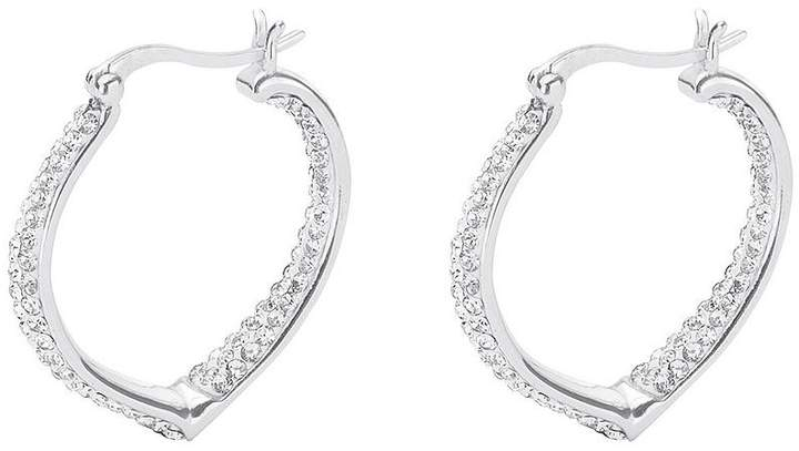Love SILVER STERLING SILVER DOUBLE CRYSTAL SET HEART SHAPED CREOLE EARRINGS