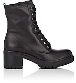 Barneys New York WOMEN'S LUG-SOLE LEATHER ANKLE BOOTS-BLACK SIZE 5