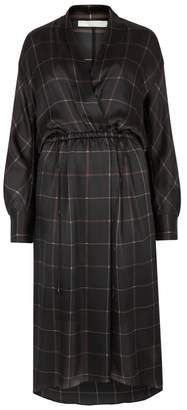 Vince Black Grid-print Silk Satin Dress