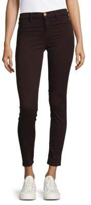 J Brand 485 Mid-Rise Super Skinny Luxe Sateen Pant