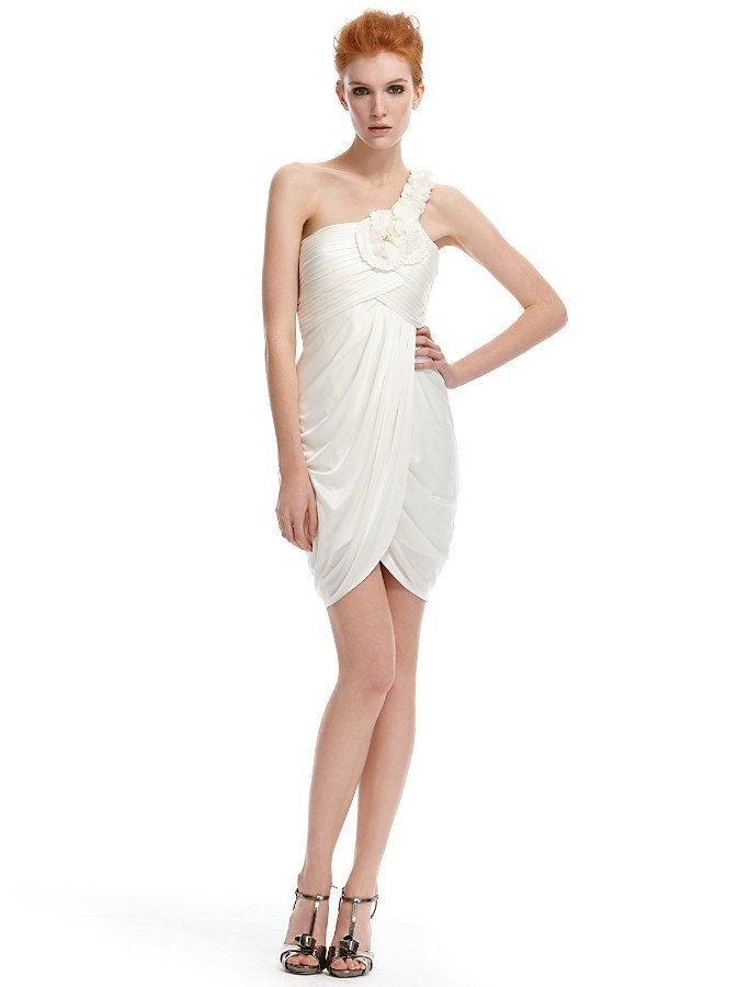 BCBGMAXAZRIA One-Shoulder Draped Dress