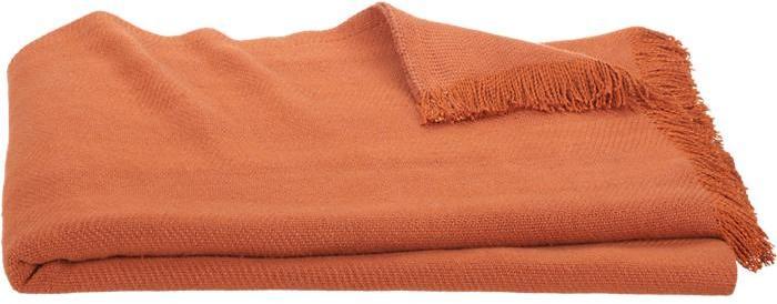Crate & Barrel Linen Twill Orange Throw