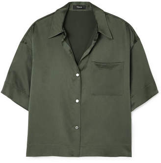 Theory Cropped Washed-silk Shirt - Dark green