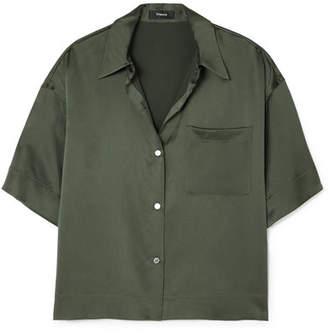 Theory Cropped Washed-silk Shirt - Dark green