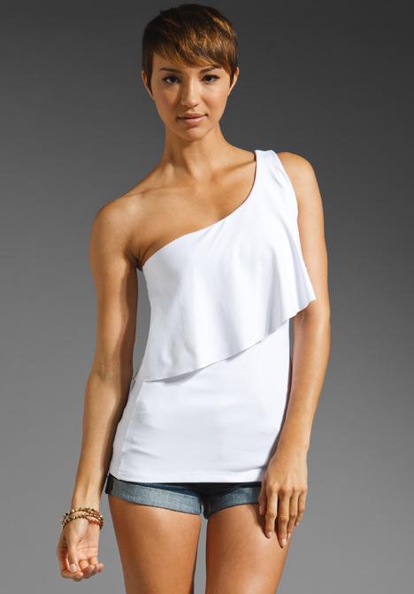 Susana Monaco Reyna One Shoulder Overlay Top