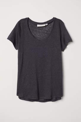 H&M Linen T-shirt - Gray