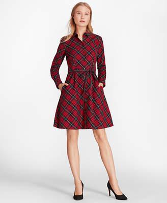 Brooks Brothers Plaid Cotton Twill A-Line Shirt Dress