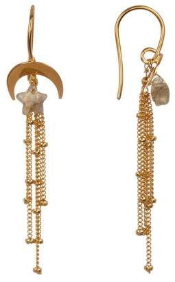 Chan Luu 18K Gold Vermeil Star & Moon Fringe Earrings