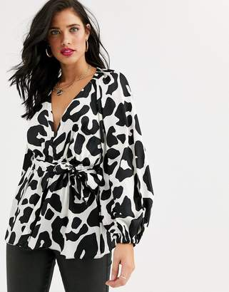 Asos Design DESIGN plunge top with kimono sleeve and belt detail in animal print