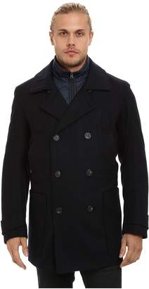Andrew Marc Mulberry Pressed Wool Peacoat w/ Removable Quilted Bib Men's Coat