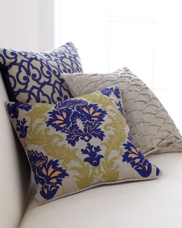 Horchow Decorative Pillows in Blue, Green, & Natural