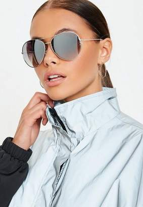 Missguided Silver Glam Aviator Sunglasses