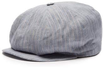 d94ba9b7a07 Lock   Co Hatters Amalfi Striped Slubbed Linen Flat Cap - Mens - Blue