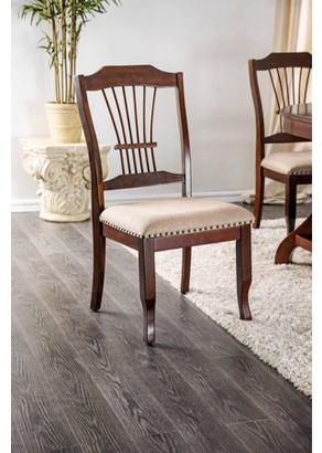 Estéban Paris Furniture of America Traditional Brown Cherry Nailhead Dining Chair, Set of 2
