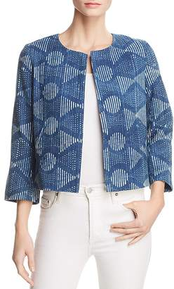 Eileen Fisher Petites Cropped Denim Jacquard Jacket