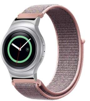 For Gear S2 Band, Fintie Nylon Sport Loop Replacement Strap Bands with Adjustable Closure for SM-R720 / SM-R730 Pink