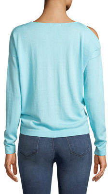 Minnie Rose Beach Please Cutout-Shoulder Lightweight Sweater