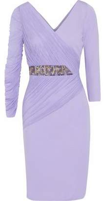 Versace Wrap-Effect Embellished Tulle-Paneled Cady Dress
