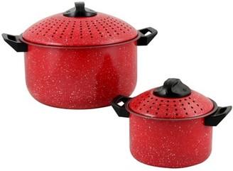 Gibson Home Casselman 4 piece Nonstick Pasta Pot Set in Red with Bakelite Handle/Knob