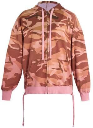 Faith Connexion Camouflage Print Hooded Cotton Sweatshirt - Mens - Pink