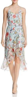 Alice + Olivia Mable Floral Print Silk Faux-Wrap Dress