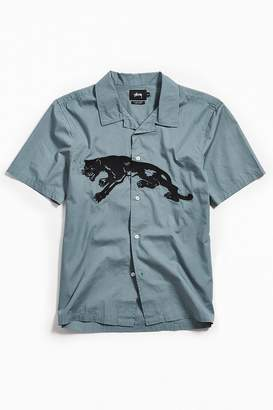 Stussy Embroidered Panther Short Sleeve Button Down Shirt