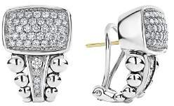 Lagos Sterling Silver Caviar Spark Pavé Diamond Omega Clip Earrings