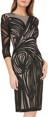 JS Collections 3/4-Sleeve Soutache Mesh-Illusion Cocktail Dress
