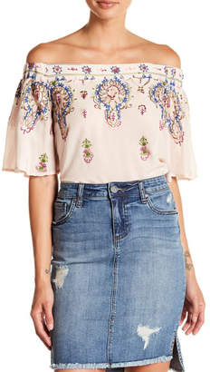 Democracy Off Shoulder Embroidered Top