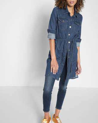 7 For All Mankind Long Trucker Dress in Sunrise